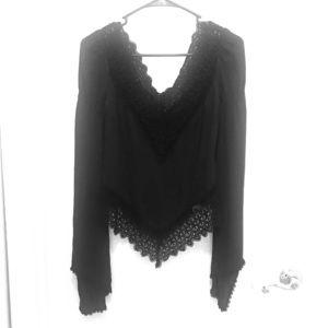 Black lace off shoulder express top